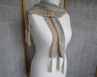 pastel knit scarf, sparkly cotton scarf, tasselled neckwarmer, Italian yarn scarf, glitzy tassel scarf, summer pastels scarf, spring scarf