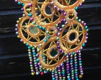 Hair Tassels, Tribal  Belly Dance, Hair Ornaments, Tribal Hair, Bellydance Costume, Bohemian Hair Extension, Mirrors, Beads, Hair Jewellery