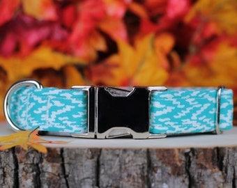 Aqua Ripples adjustable Dog Collar with Metal Buckle
