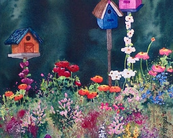 Three Birdhouses - Watercolor print