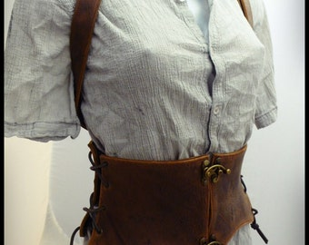 Brown leather corset old medieval style