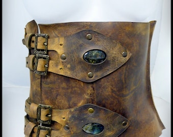 Xena aged brown leather corset