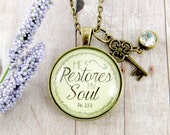 He Restores My Soul Bible Verse Necklace Inspirational Pendant Jewelry Psalm 23:3 Sympathy Grief Gift Christian Jewelry Encouragement