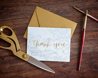 Gold Foil THANK YOU CARD // Marble // Calligraphy