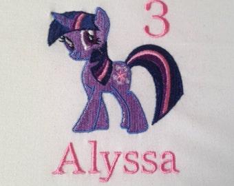 Twilight Sparkle Birthday Shirt, My Little Pony Birthday Shirt, My Little Pony Party, Twilight Sparkle Bodysuit, Personalized, Embroidered