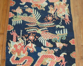 Antique Tibetan Dragon Rug 2'10''x5'2''