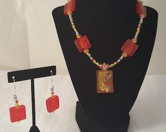 Orange Pendant Necklace - Pendant Necklace - Orange Necklace - Fire Stone Glass Necklace - Glass Pendant Necklace - Women's Jewelry Set