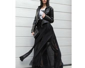 Long Chiffon Skirt, Loose Skirt, Maxi Festival Skirt, Flare Skirt, Layer Skirt, Black Skirt, Extravagant Clothing, Boho Skirt, Sheer Skirt