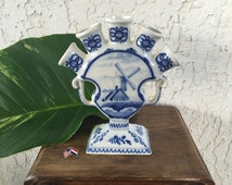 1800's Old Delft Tulipiere 5 finger Delfts Blauw Molen Windmill Tulp Tulip Chinois 蝶 Butterfly Frog Vaas Vase Boch Frères Keramis *Free S&H
