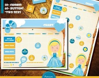 Printable routine chart, Printable chore chart, Chore chart, Reward chart, Princess clipart - CH14