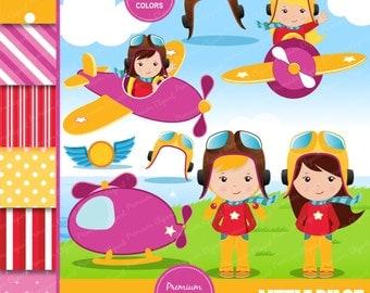 Aviator girl clipart, birthday party clipart, pilot party clipart, airplane party clipart, pilot clipart, pilot girl - CL126