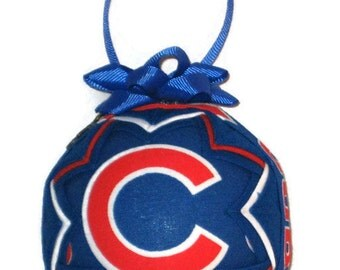 CHICAGO CUBS Ornament Made From Cubs Fabric, Chicago Cubs tree ornament, Chicago Cubs Gift Ideas, Quilted Ornaments, Fabric Ornaments, Sport