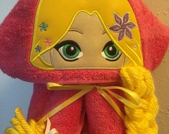 Rapunzel Hooded Towel - Tangled - Tangled Hooded Towel - Hooded Towel -Childs Hooded Towel - Paschal - REDROCKCRAFTSWY