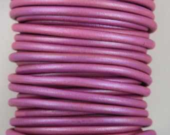"MADE IN SPAIN 2 feet (24"") metallic pink leather cord, 5mm round leather cord, (5PINKMA61)"
