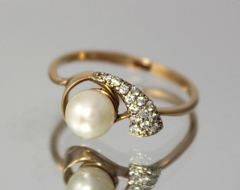 Gold pearl ring, White pearl ring, Pearl ring, June Birthstone, Promise gold ring, Delicate gold ring, Dainty gold ring