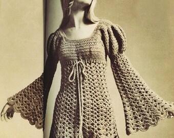 Crochet Pdf Pattern - Vintage Ladies Juliet Style Dress - 70s