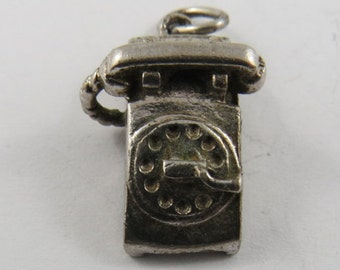 Vintage Rotary Phone Sterling Silver Charm or Pendant.