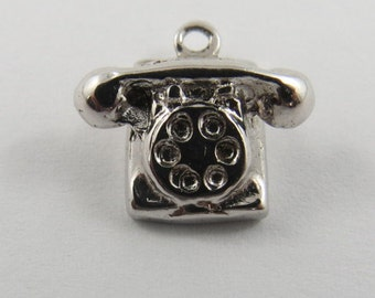 Rotary Dial Telephone  Sterling Silver Charm or Pendant.