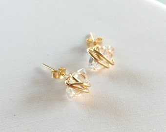 Wire-wrapped Herkimer Stud Earrings | Herkimer Diamond Earrings | Crystal Quartz Stud Earrings | Minimalist Jewelry