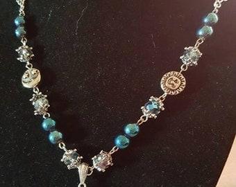 Blue Celestial Quatz Crystal Necklace