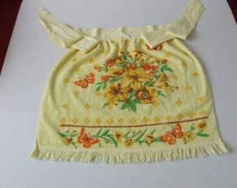 Vintage Towel Apron, Retro Apron, Yellow Towel Apron, Cottage Chic Apron, Gift for Her, Shabby Chic Apron, Floral Yellow Apron, Gift for Her