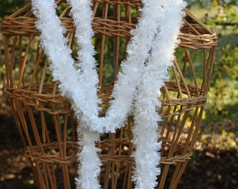 white scarf; white skinny scarf; scarves; faux fur scarf; hand knit scarf; knit scarf; white hand knit scarf;