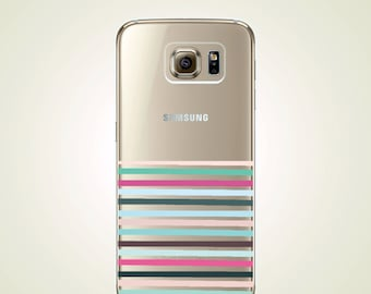 Colorful Stripe TPU Soft case Samsung Galaxy S4 case, S5 case, S6 case, Flower S6 edge case, Note 3 case, Note 5 case, S6 plus edge case
