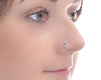 2mm Opal Nose Ring 18g, Silver nose piercing, Tragus piercing, Cartilage earring, Helix ring, Daith jewelry, Septum ring, Rook jewelry