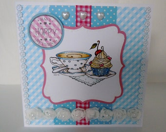 Handmade Tea and Cake Birthday Card