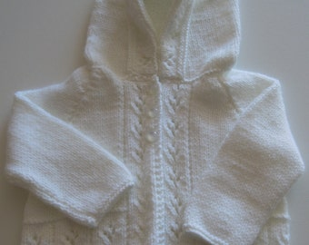 Lovely hand knitted white hooded matinee coat - (0 - 3 Months)