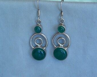 Sterling Silver 925 Emerald Green Glass Dangle Earrings
