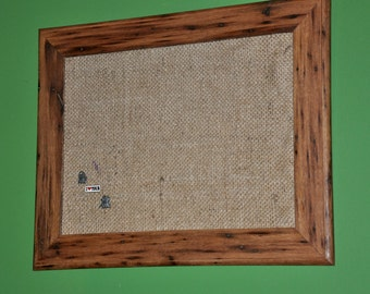 Reclaimed Wormy Chestnut and Burlap Pin Board