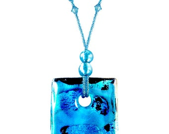 Murano Glass Turquoise Pendant Necklace 'Nile' by Mystery of Venice