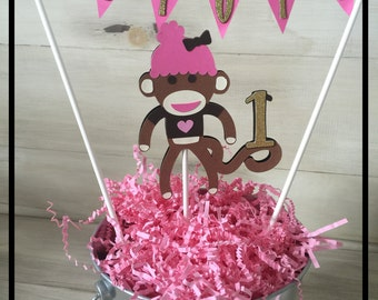 Babys First Birthday, First Birthday Cake Topper, Monkey Birthday Party, Sock Monkey Party Supplies, 1st Birthday Cake Topper, Monkey Party