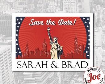 50 Vintage New York Postcard Wedding Save the Date / Wedding Invitation