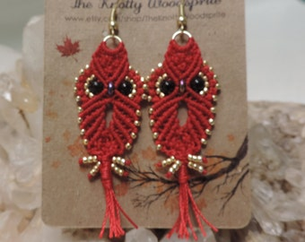 Red Hoot Owl Micro Macrame Earrings