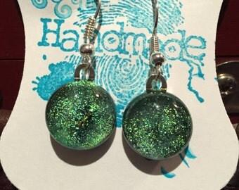 Handmade Dichroic green glass dangle earrings