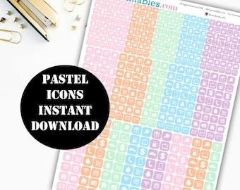 Pastel Icon Printable Planner Stickers // Erin Condren Life Planner / Kikki / Plum Paper Planner / Midori Insert / Icon Stickers 00137