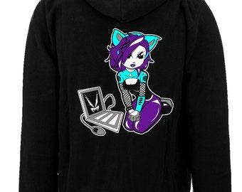 Vampirefreaks Cyber Kitty Zipper Hoodie