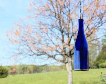 Single Cobalt Blue Hanging Wine Bottle Lantern  - Hanging Votive - Wine Bottle Hurricane - Hanging Lantern - Gifts for Mom - Housewarming