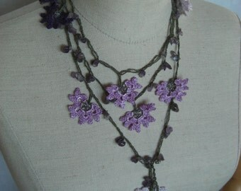purple, pink and mauve flower necklace/ bracelet/ belt with beads