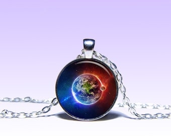 Earth Color Pendant  Planet NECKLACE Black Red Jewelery Charm Pendant for Him or Her