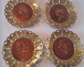 Brass Framed Copper Musical Composer Portraits Made in England