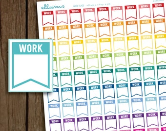 Work Stickers | PRINTABLE Instant Download | Work Planner Stickers | Work Schedule Sticker | Work Flag | fits Erin Condren or Happy Planner