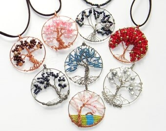Gemstone Crystal Tree of Life Pendant in different Gem Stones