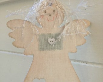 Shabby Chic Wooden Hanging Angel, Hanging Angel tag, Gift Tag, Christmas Angel, Handmade in UK