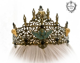 The skull queen crown-Gothic ornate crown-Gothc Fantasy crown-skull crown