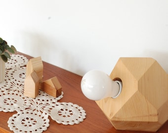 Geometric Hemlock Faceted Block Table Lamp - Wood Table Lamp - Brass and Hemlock - Minimalist and Modern Design
