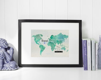 Travel - World Map Watercolor print