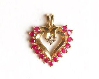 Valentine's Day/10k Yellow Gold Ruby & Diamond Heart Pendant Charm